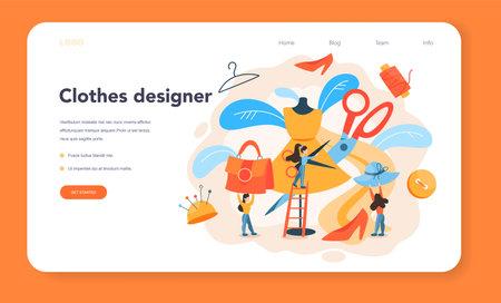 Fashion or clothes designer web banner or landing page. Illustration
