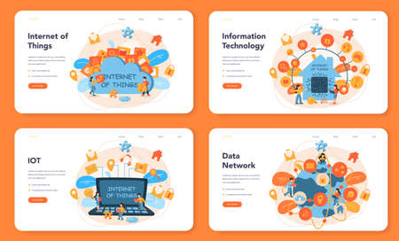 Internet of things web banner or landing page set. Idea of cloud