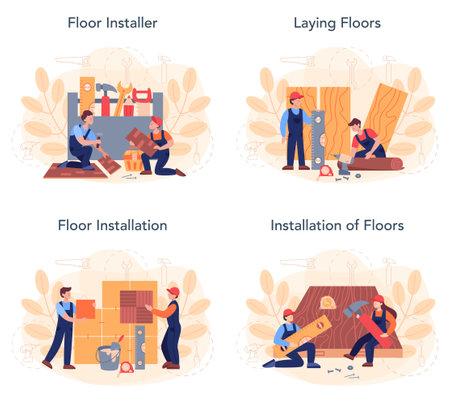 Flooring installer set. Professional parquet laying, wooden or tile floor.