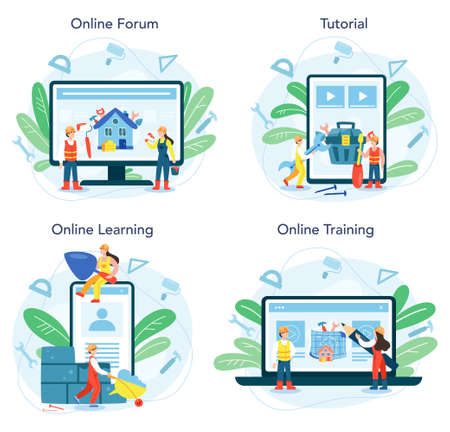House building online service or platform set. Workers constructing home