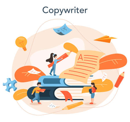 Copywriter concept. Idea of writing texts, creativity and promotion Illustration