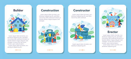 House building mobile application banner set. Workers constructing home Illustration
