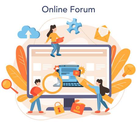 Content management online service or platform. Idea of digital strategy Illustration