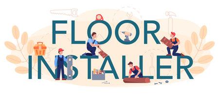 Flooring installer typographic header. Professional parquet laying,