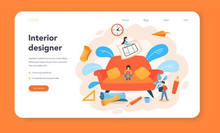 Professional interior designer web banner or landing page. Illustration
