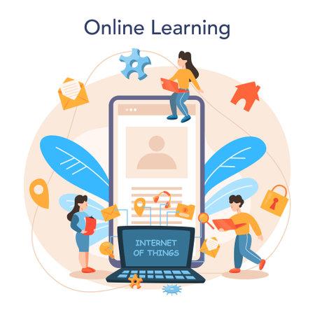 Internet of things online service or platform. Idea of cloud Illustration