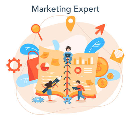 Marketer. Advertising and marketing concept. Business strategy Illustration