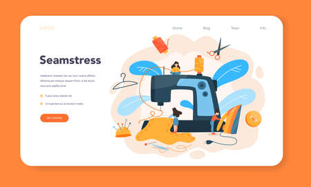 Seamstress or tailor web banner or landing page. Professional Illustration