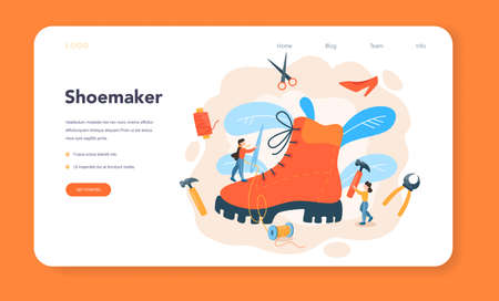 Shoemaker web banner or landing page. Male and female