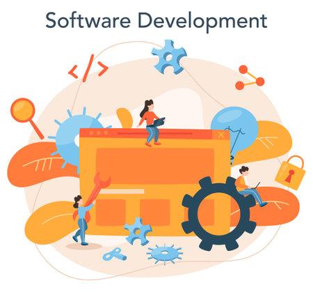 Software developer concept. Idea of programming and coding,