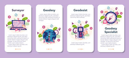 Surveyor mobile application banner set. Geodesy science , land