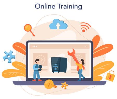 System administrator online service or platform. People working