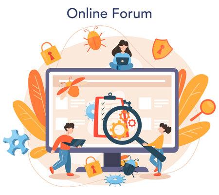 Testing software online service or platform. Application or website Illustration