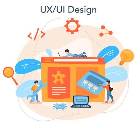 UX UI designer concept. App interface improvement for user Illustration