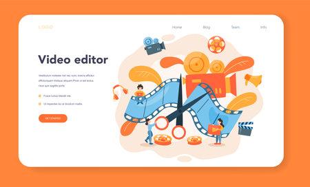 Video editor or designer web banner or landing page. Artist create Illustration