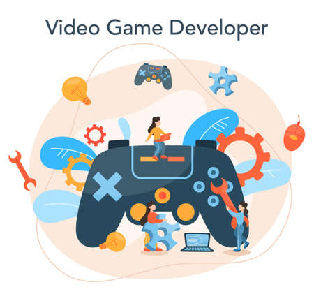 Game development concept. Creative process of a computer video game
