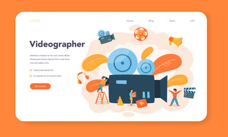 Videographer web banner or landing page. Movie and cinema Illustration
