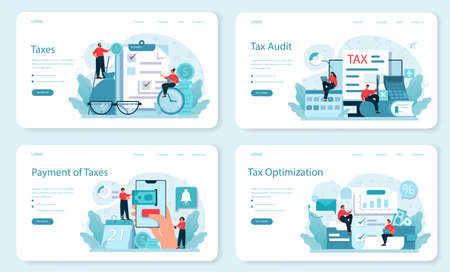 Taxes payment web banner or landing page set. Idea of business accounting