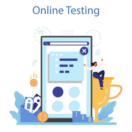 Personnel screening online service or platform. Business recruitment Vector Illustration