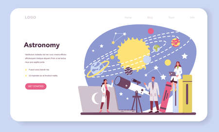 Astronomy and astronomer web banner or landing page. Professional scientist