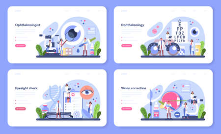 Ophthalmologist web banner or landing page set. Idea of eyesight check