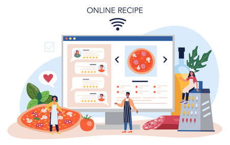 Pizza maker online service or platform. Chef cooking tasty delicious pizza. Vectores