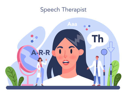 Speech therapist concept. Didactic correction and speech treatment idea