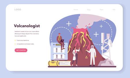 Volcanologist web banner or landing page. Geologist studying