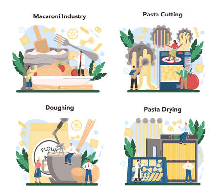 Spaghetti or pasta production industry set. Italian Semi-processed Stock Illustratie