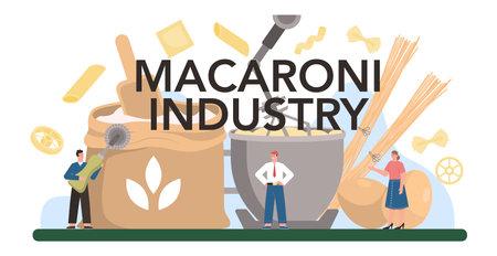 Macaroni production industry typographic header. Italian semi-processed