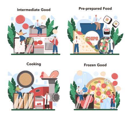 Semi-processed goods production set. Frozen intermidiate food or ingredients