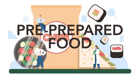 Pre-prepared food production typographic header. Frozen intermidiate goods