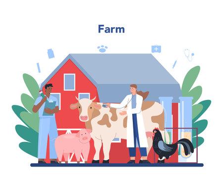 Pet veterinarian concept. Veterinary doctor checking and treating Ilustração