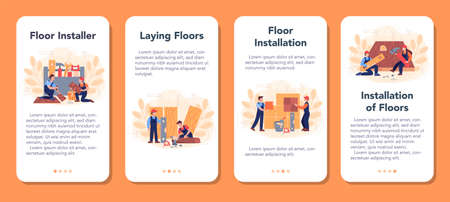 Flooring installer mobile application banner set. Professional parquet laying Иллюстрация