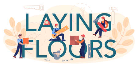 Laying floors typographic header. Professional parquet laying, wooden Vecteurs