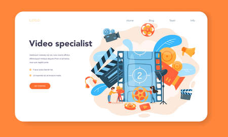 Videographer web banner or landing page. Movie and cinema Vecteurs