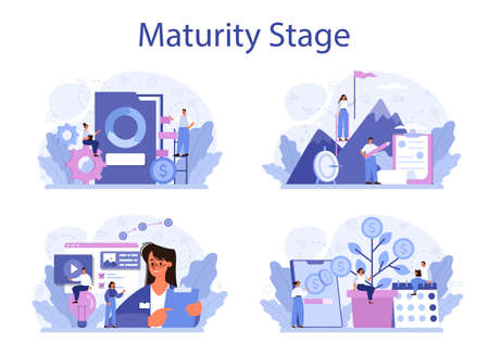Maturity stage concept set. Project life cycle period. Successful business