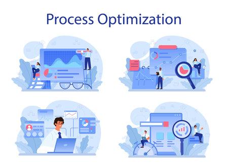 Process optimization concept set. Idea of business improvement