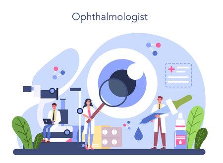 Ophthalmologist concept. Idea of eyesight check and treatment. Vektorgrafik