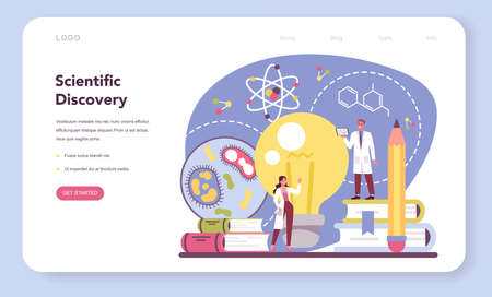 Scientist web banner or landing page. Idea of education and innovation