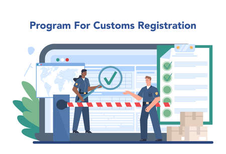 Customs officer online service or platform. Passport control at the airport. Security checkpoint and registration. Online registration. Isolated flat vector illustration Vektorové ilustrace
