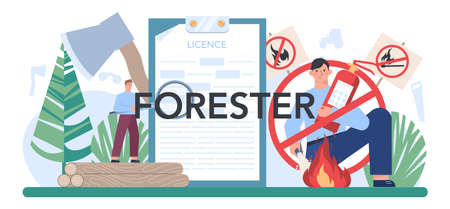 Forester typographic header. Wood protection and rehabilitation.
