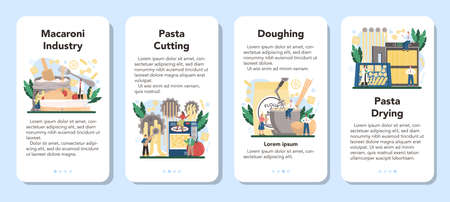 Spaghetti or pasta production industry mobile application banner set. Italian semi-processed food manufacturing, Macaroni cutting and drying. Isolated vector illustration in cartoon style Stock Illustratie