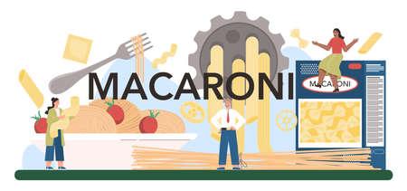 Macaroni typographic header. Italian semi-processed food manufacturing