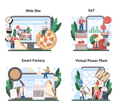 Semi-processed goods production online service or platform set
