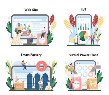 Sugar production industry online service or platform set. Saccharose