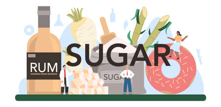 Sugar typographic header. Saccharose and fructose extracted from sugar