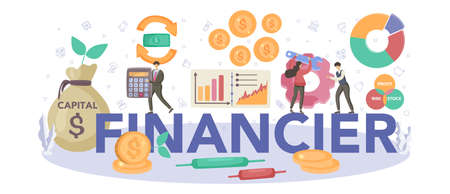 Financier typographic header. Business character making banking
