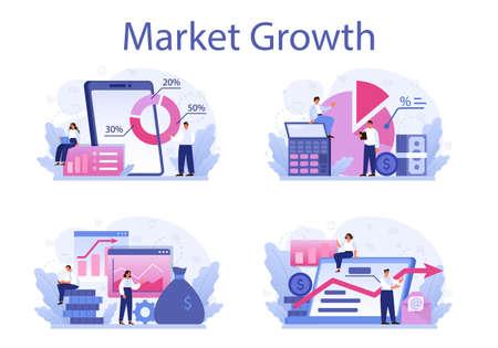 Market growth concept set. Business progress. Business expansion