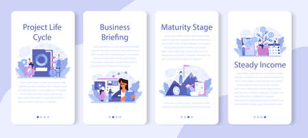Maturity stage mobile application banner set. Project life cycle period. Иллюстрация